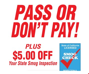 $5 off smog inspection.