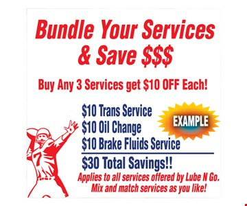 Buy any 3 services, get $10 off each