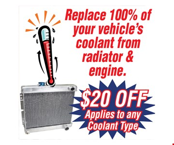 $20 off coolant from radiator and engine