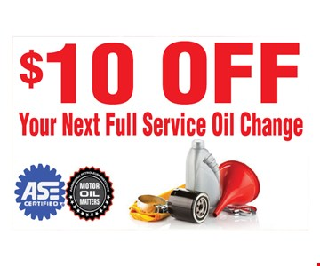 $10 off your next full service oil change