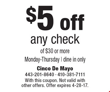 $5 off any check of $30 or more. Monday-Thursday | dine in only. With this coupon. Not valid with other offers. Offer expires 4-28-17.