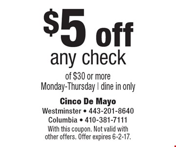 $5 off any check of $30 or more. Monday-Thursday | dine in only. With this coupon. Not valid with other offers. Offer expires 6-2-17.