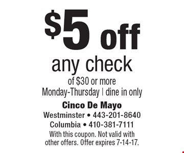 $5 off any check of $30 or more Monday-Thursday | dine in only. With this coupon. Not valid with other offers. Offer expires 7-14-17.