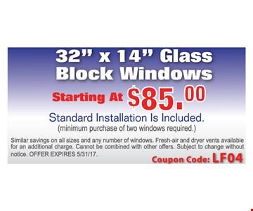Glass Block Windows starting at $85