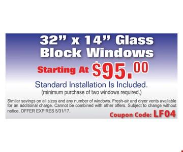 Glass Block Windows starting at $95