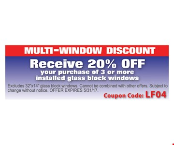 Multi-Window Discount! Receive 20% off