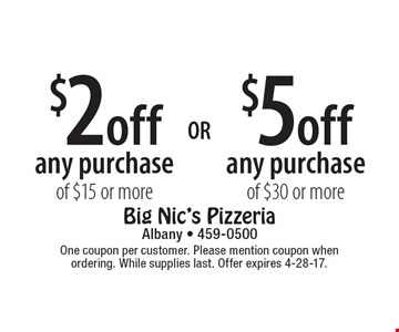 $5 off any purchase of $30 or more OR $2 off any purchase of $15 or more. One coupon per customer. Please mention coupon when ordering. While supplies last. Offer expires 4-28-17.