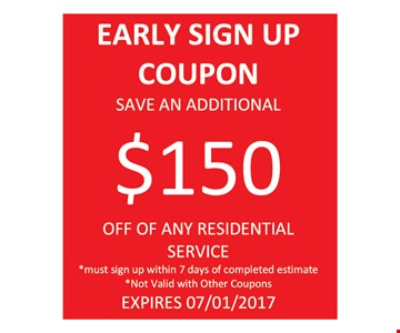 Save $150 Early sign up coupon