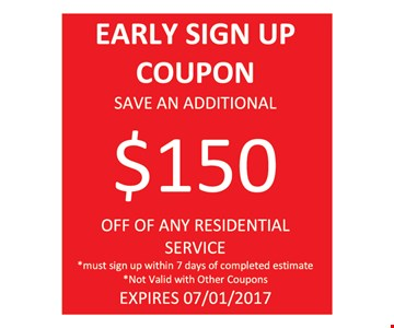 $150 off any residential service