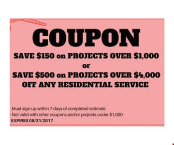 save $150 on projects over $1000