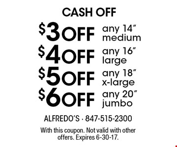 Cash Off $6 Off any 20