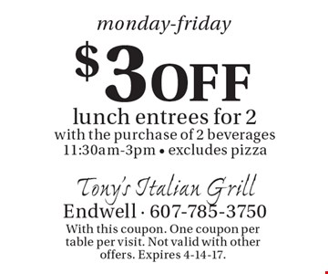 Monday-Friday $3 off lunch entrees for 2 with the purchase of 2 beverages. 11:30am-3pm - excludes pizza. With this coupon. One coupon per table per visit. Not valid with other offers. Expires 4-14-17.