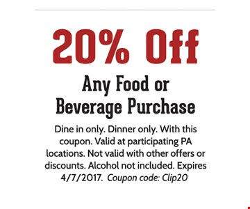20% off Any food or beverage Purchase