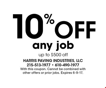 10% Off any job up to $500 off. With this coupon. Cannot be combined with other offers or prior jobs. Expires 6-9-17.