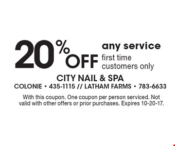 20% Off any service. First time customers only. With this coupon. One coupon per person serviced. Not valid with other offers or prior purchases. Expires 10-20-17.
