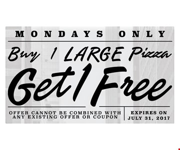 Buy 1 large pizza get 1 free