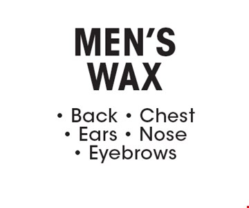 MEN'S WAX. Back. Chest. Ears. Nose. Eyebrows.
