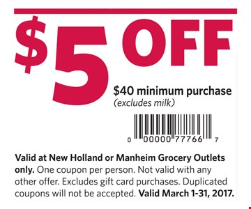 $5 Off $40 minimum purchase