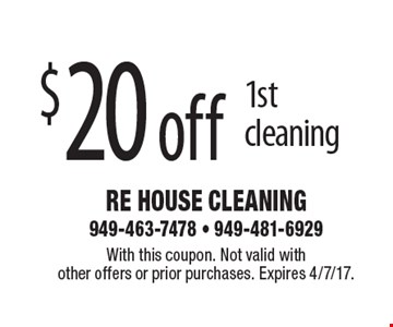 $20 off 1st cleaning. With this coupon. Not valid with other offers or prior purchases. Expires 4/7/17.