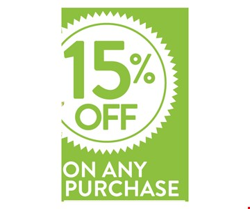 15% off on any purchase