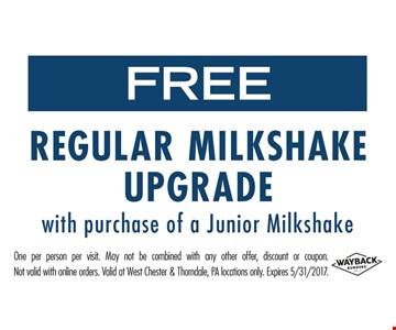 Free Regular Milkshake Upgrade