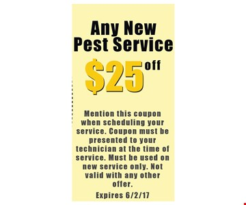 $25 off any new pest service