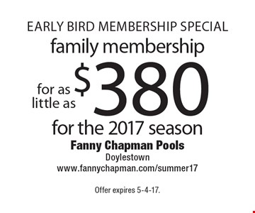 EARLY BIRD MEMBERSHIP SPECIAL - Family Membership For As Little As $380 For The 2017 Season. Offer expires 5-4-17.