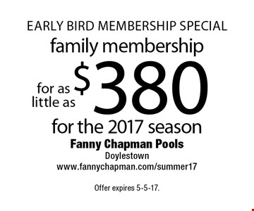 Early bird Membership special. $380 for the 2017 season family membership. Offer expires 5-5-17.