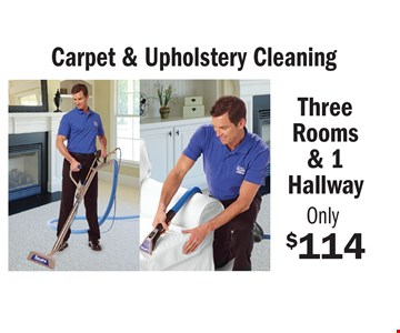 Only $114 Carpet & Upholstery Cleaning Three Rooms & 1 Hallway some restrictions may apply. An area is defined as a room up to 300 square feet. Combination areas and areas over 300 square feet are considered as separate areas. Baths, staircases, landings, halls, walk-in closets and area rugs are priced separately. Valid for residential areas only. Prices may vary for specialty fabrics, loose back cushions, wool and oriental carpet and special services. Air duct pricing valid on single furnace homes only. Extra charge may apply for homes with multiple heating/cooling systems or homes with furnace or vents that are not easily accessible. Not responsible for existing broken tiles and or loose grout. Energy savings may vary depending on the size of your home and the condition of your heating/cooling system. Offer/service not available in all areas. Minimum order may apply. Other restrictions may apply. Call for details. Not valid with any other coupon or offer. Void where prohibited. Services supplied by Sears associates or franchisees. Sears cards are issued by Citibank (South Dakota) N.A. A temporary fuel charge may be added. Offers expire 3-31-17.