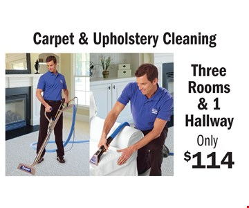 Only $114 for Carpet & Upholstery Cleaning. Three Rooms & 1 Hallway. Some restrictions may apply. An area is defined as a room up to 300 square feet. Combination areas and areas over 300 square feet are considered as separate areas. Baths, staircases, landings, halls, walk-in closets and area rugs are priced separately. Valid for residential areas only. Prices may vary for specialty fabrics, loose back cushions, wool and oriental carpet and special services. Air duct pricing valid on single furnace homes only. Extra charge may apply for homes with multiple heating/cooling systems or homes with furnace or vents that are not easily accessible. Not responsible for existing broken tiles and or loose grout. Energy savings may vary depending on the size of your home and the condition of your heating/cooling system. Offer/service not available in all areas. Minimum order may apply. Other restrictions may apply. Call for details. Not valid with any other coupon or offer. Void where prohibited. Services supplied by Sears associates or franchisees. Sears cards are issued by Citibank (South Dakota) N.A. A temporary fuel charge may be added. Offers expire 6-29-17.