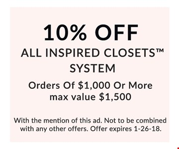 10% Off All Inspired Closets System