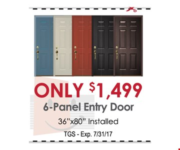Only $1499 6-panel entry door
