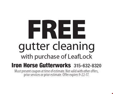 FREE gutter cleaning with purchase of LeafLock. Must present coupon at time of estimate. Not valid with other offers, prior services or prior estimate. Offer expires 9-22-17.