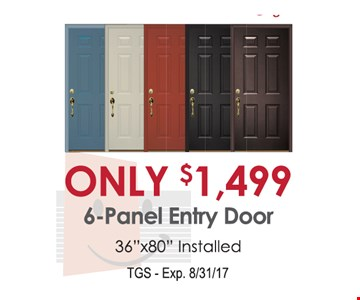 Only $1,499 6-Panel Entry Door