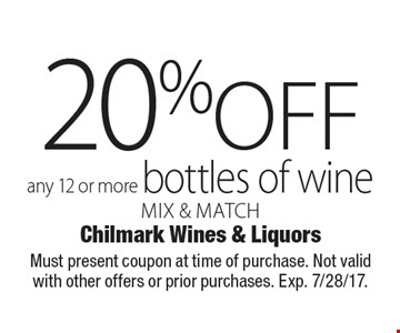 20%off any 12 or more bottles of wine mix & match. Must present coupon at time of purchase. Not valid with other offers or prior purchases. Exp. 7/28/17.