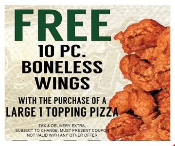 Free 10 PC Boneless Wings