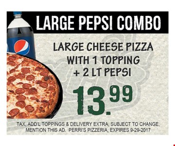 Large Pepsi Combo for $13.99