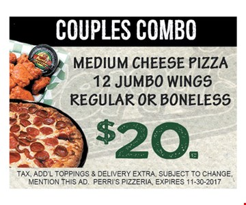 $20 medium cheese pizza 12 jumbo wings regular or boneless