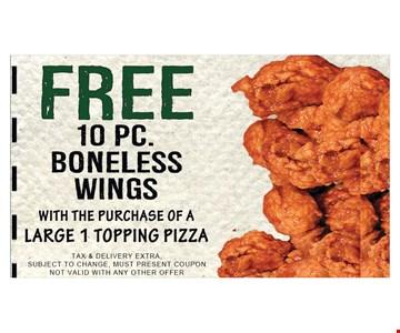 Free 10 pc. boneless wings