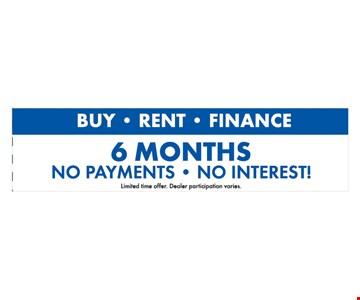6 months no payment, no interest