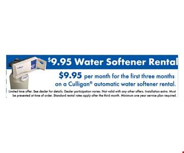 $9.95 water softener rental