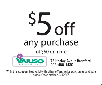 $5 off any purchase of $50 or more. With this coupon. Not valid with other offers, prior purchases and sale items. Offer expires 6/12/17.