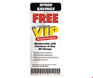 Free Take 5 Oil Change VIP Reward Program