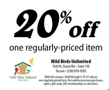20% off one regularly-priced item. With this coupon. Valid through 4-14-17 only on one regularly priced item. Not valid on previous purchases, optics, gift cards, DSC memberships or sale items.