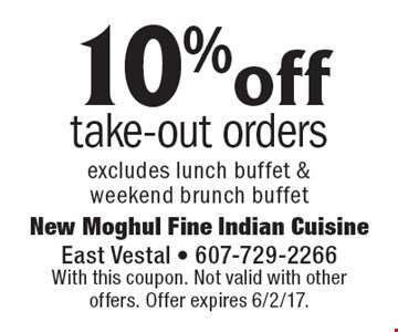 10% off take-out orders excludes lunch buffet & weekend brunch buffet. With this coupon. Not valid with other offers. Offer expires 6/2/17.