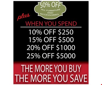 50% off all furniture & accessories Plus 10% off when you spend $250, 15% off when you spend $500, 20% off when you spend $1,000 and 25% off When you spend $5,000. Now through May 31st, 2017.