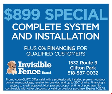 $899 Special Complete System and Installation