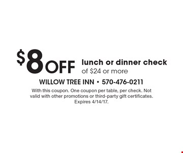 $8 Off lunch or dinner check of $24 or more. With this coupon. One coupon per table, per check. Not valid with other promotions or third-party gift certificates. Expires 4/14/17.