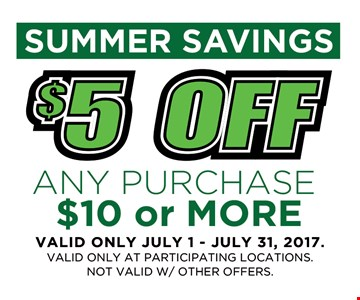 $5 off any purchase $10 or more