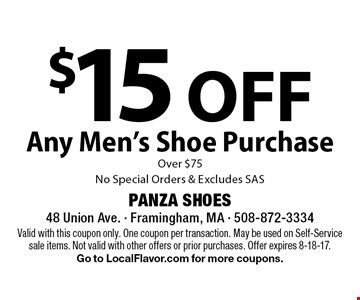 $15 OFF Any Men's Shoe Purchase  Over $75. No Special Orders & Excludes SAS. Valid with this coupon only. One coupon per transaction. May be used on Self-Service sale items. Not valid with other offers or prior purchases. Offer expires 8-18-17. Go to LocalFlavor.com for more coupons.